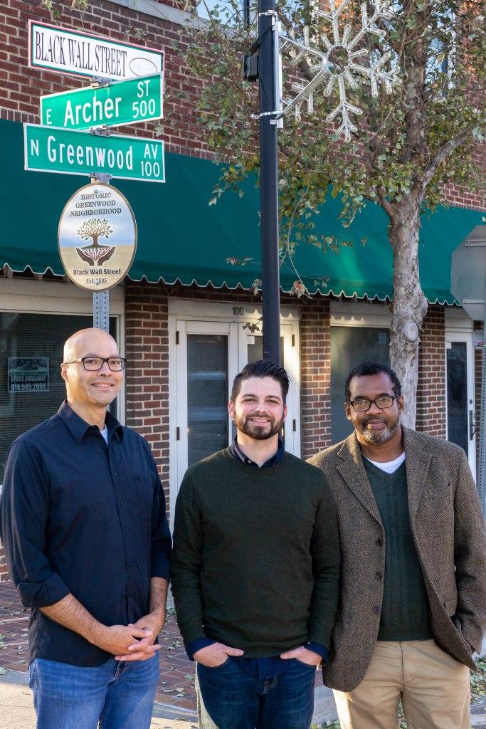 Bracken Klar, Josh Wann, and Quraysh Ali Lansana on Black Wall Street in Tulsa's Greenwood district